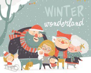 Winter fun. Happy family at winter vacation. Vector greeting card