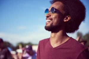 Close up of African man with sunglasses