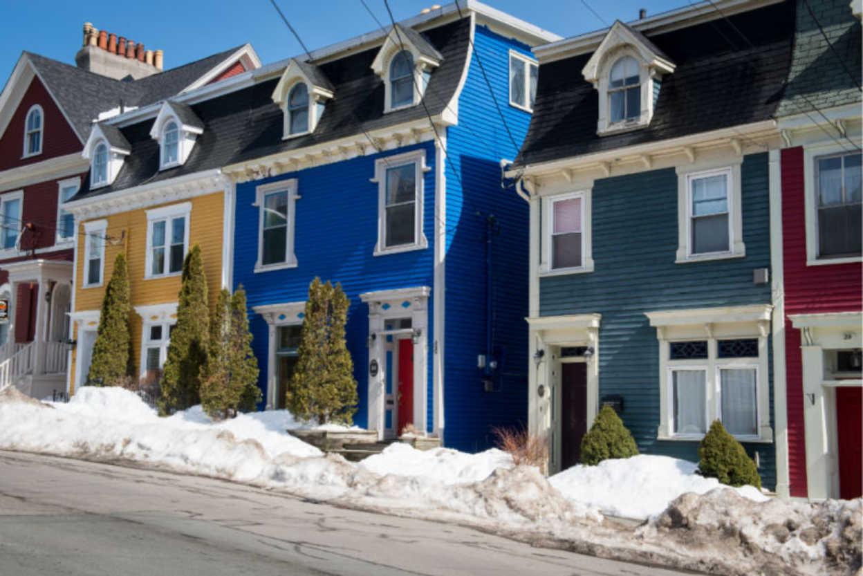 St. John's Row Houses In Winter