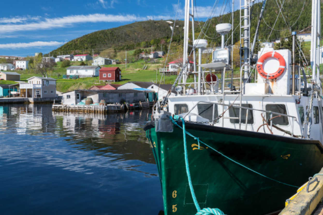 Harbor of Woody Point Fishing Village in Gros Morne, Newfoundland, Canada