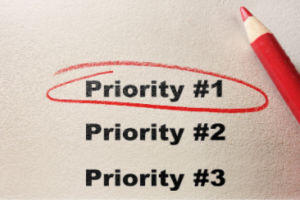Priority #1 circled with red pencil