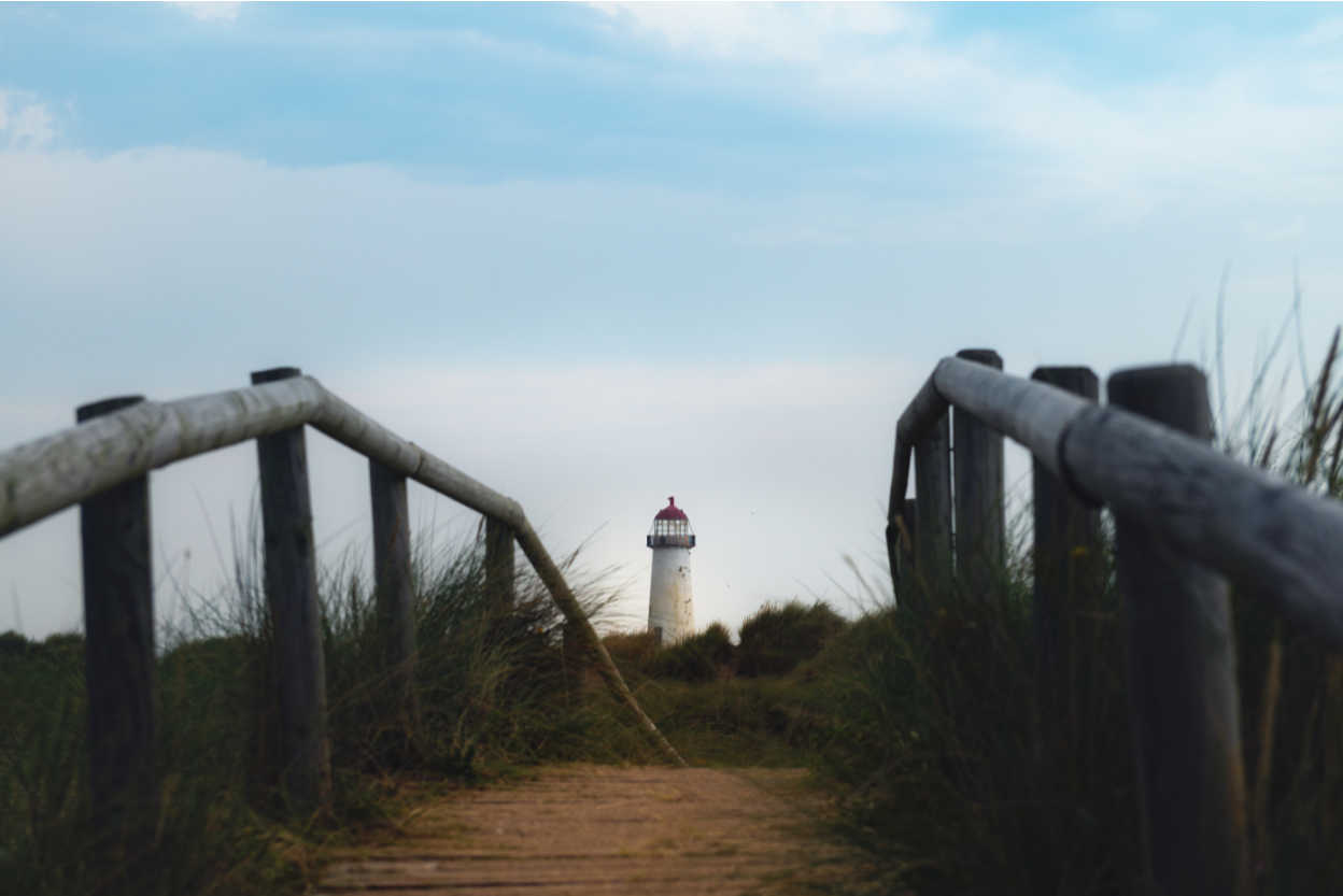 The Point of Ayr Lighthouse, also known as the Talacre Lighthouse, situated on the north coast of Wales, on the Point of Ayr, near the village of Talacre
