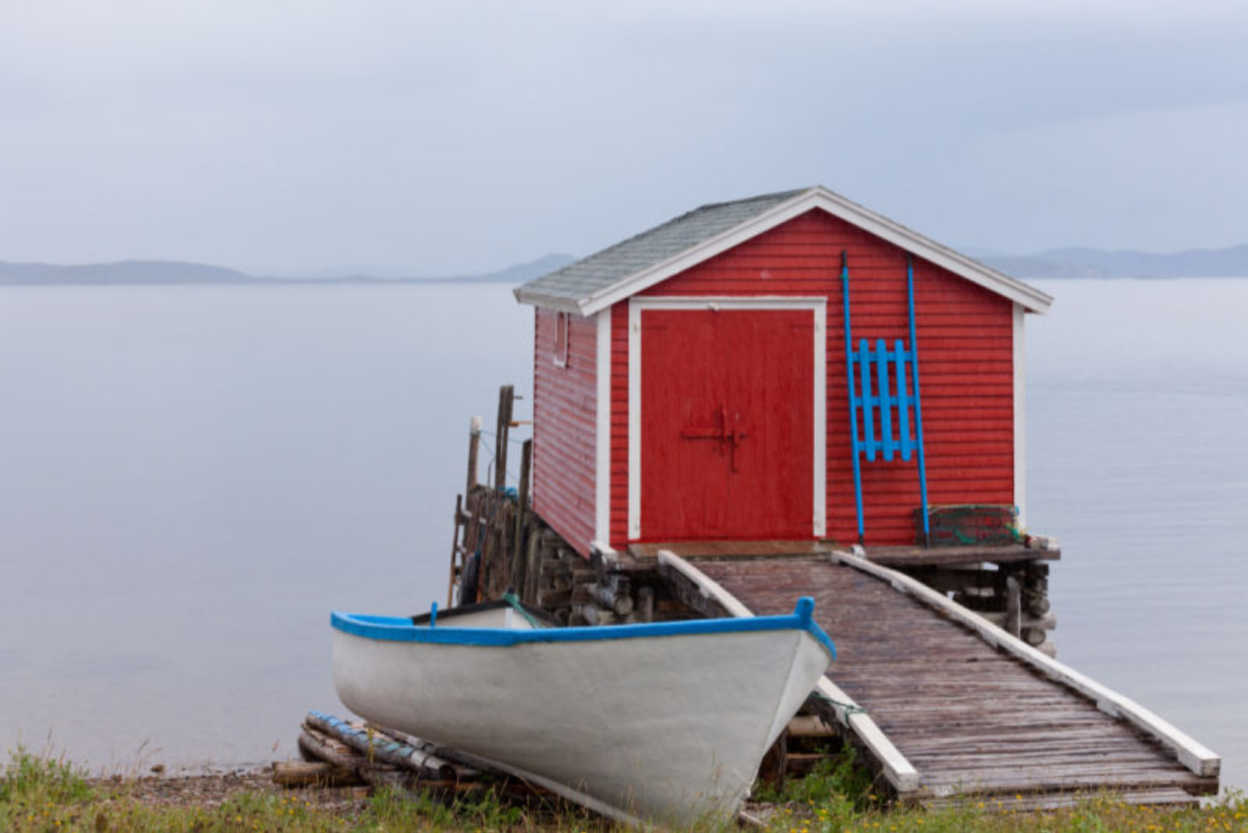 Red-Newfoundland-Boat-House-in-Atlantic-Canada