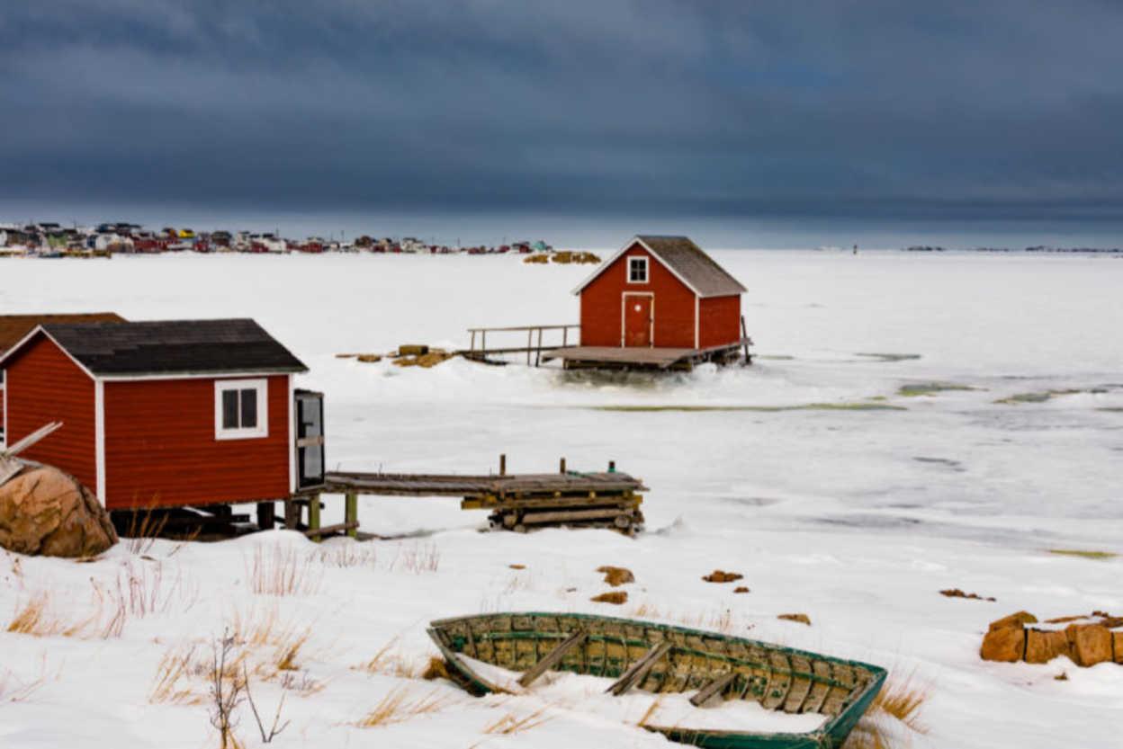 Shacks-at-Frozen-Shore-of-Joe-Batts-Arm-Newfoundland-Canada
